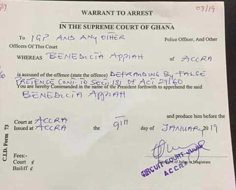 Warrant for the arrest of Benedicta Appiah