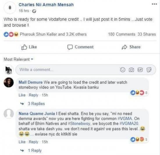 Shatta Wale - I'll use the credit to stream Stonebwoy's video – Fan who won credit from Shatta Wale