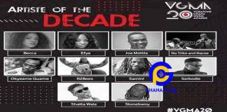 VGMA 2019: Here is the list of nominees for Artiste of the Decade