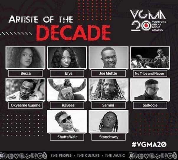 nominees Artist Decade - VGMA 2019: List of nominees for Artiste of the Decade