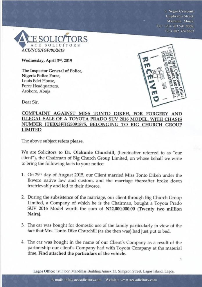 Church 1 - Police to arrest Tonto Dikeh for theft and forgery