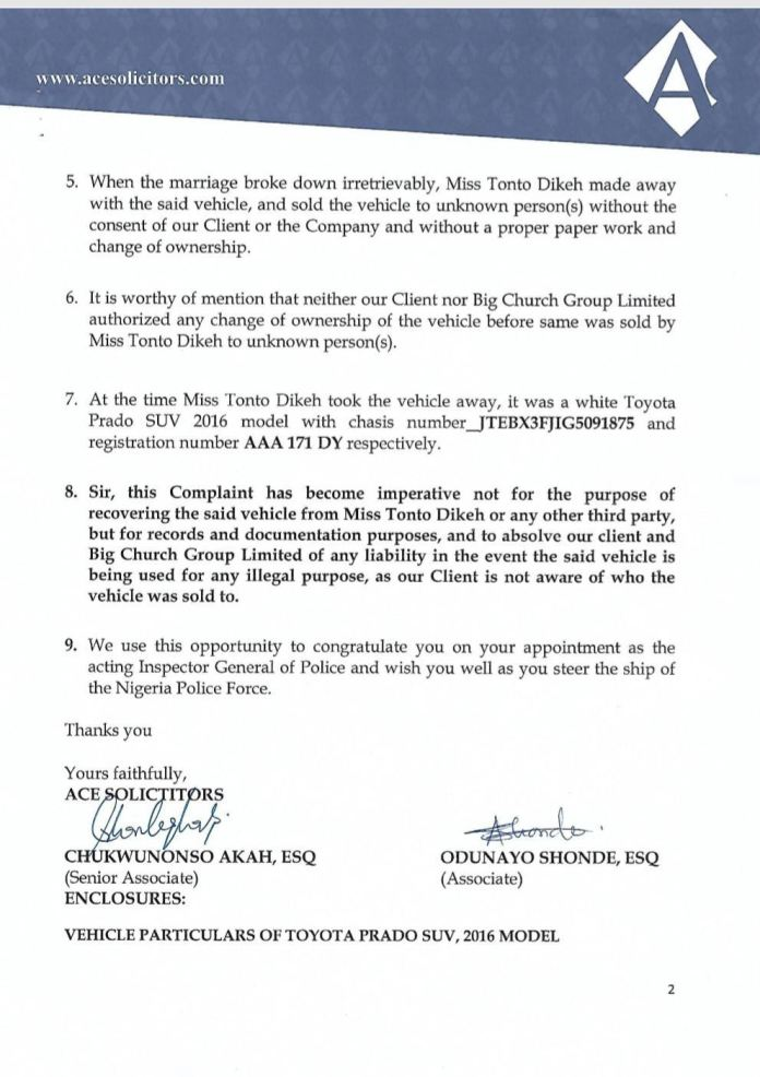 Church 2 1 - Police to arrest Tonto Dikeh for theft and forgery
