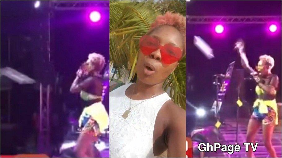 FELI NUNA SACHET WATER - Feli Nuna reacts after fans threw sachet water at her at Ebony Memorial concert