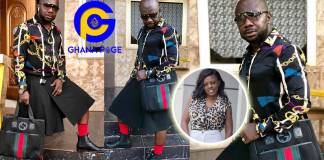 Photos of Nana Aba's baby daddy Osebo stylishly roaming town wearing skirt & shirt again go viral