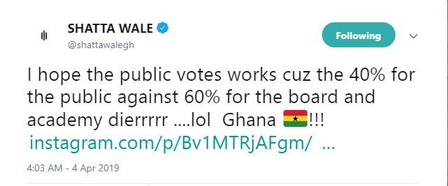 Shatta VGMA votes - 40% public votes against 60% board votes in VGMA is unfair – Shatta Wale