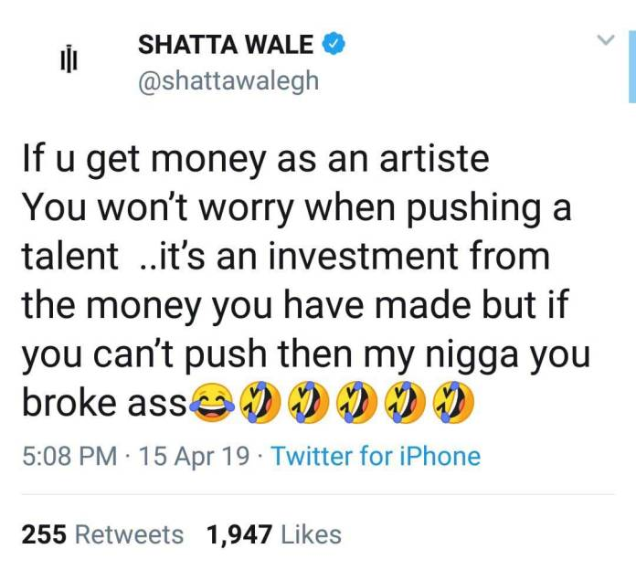 Shatta Wale mocks Shatta - Shatta Wale mocks Sarkodie after he failed to extend Strongman's contract