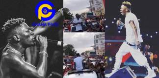 Shatta Wale caused huge traffic in Cape Coast as he sprayed dollars on fans yesterday [Watch]