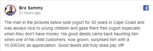 Young man gifts 10k cedis to ice-cream seller who helped him years back 2