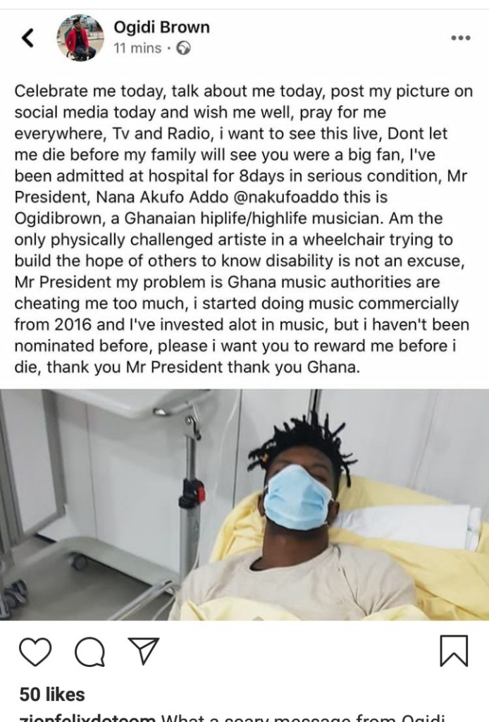 Ogidi Brown in serious health condition after 8 days of being hospitalized 2