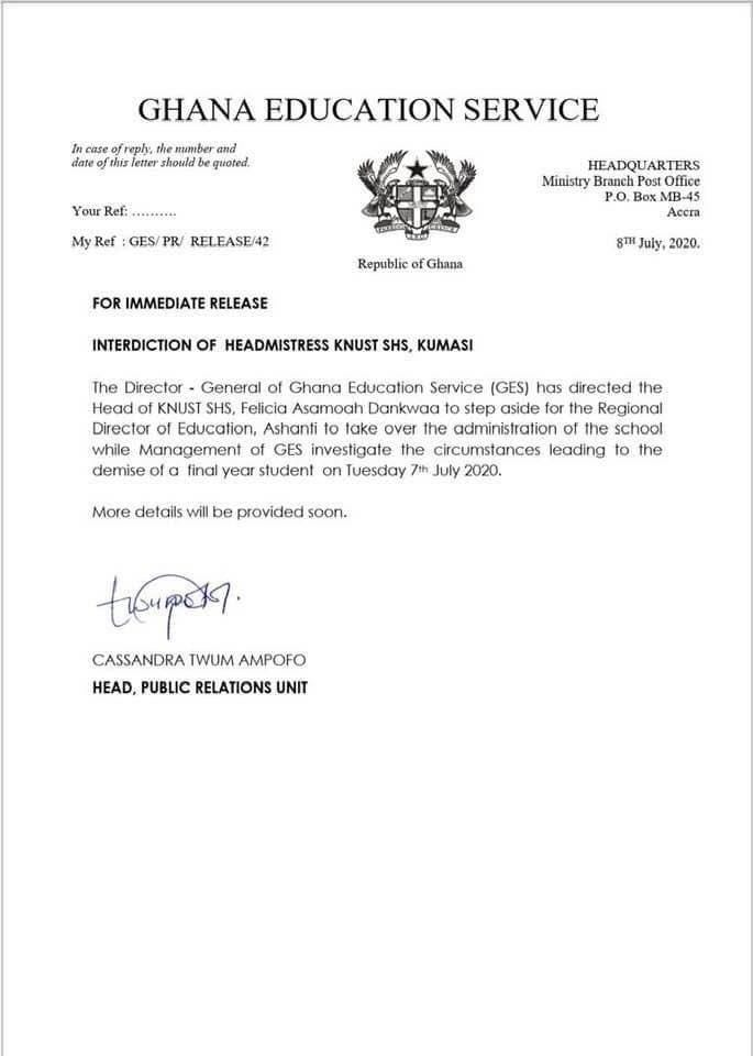 GES Interdicts KNUST SHS Headmistress