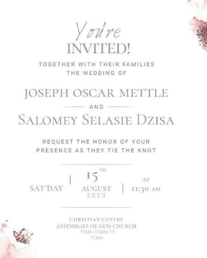 Joe Mettle's Wedding date card
