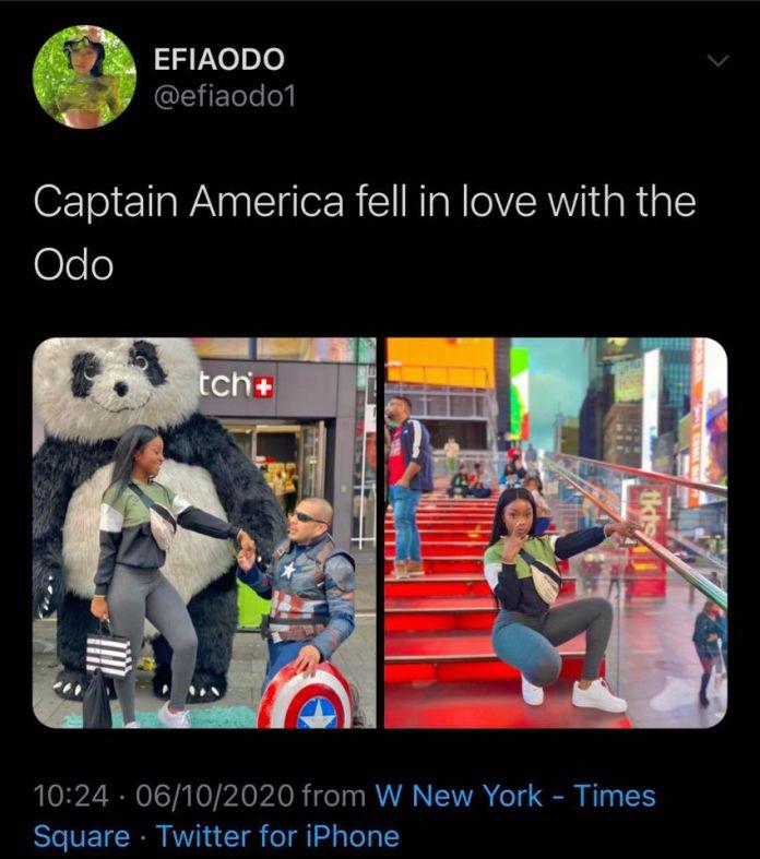 Efia Odo and Captain America
