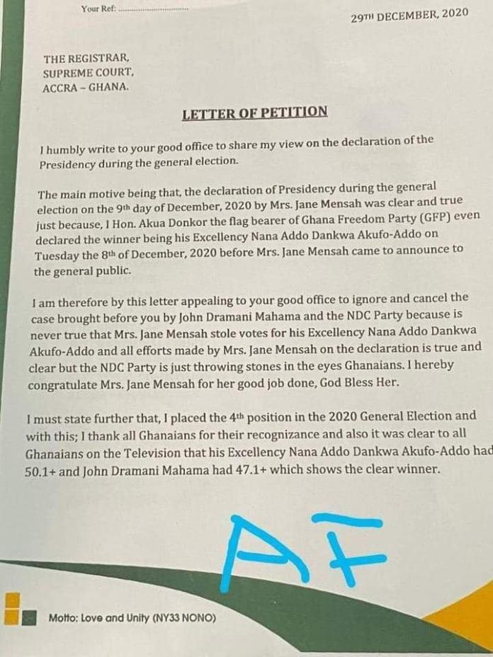 Akua Donkor petition Supreme Court