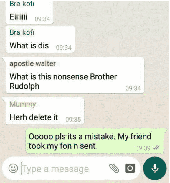 Drama as Church elder mistakenly post sex tape in church Whatsapp group