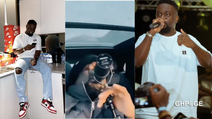 Sarkodie records in a moving car