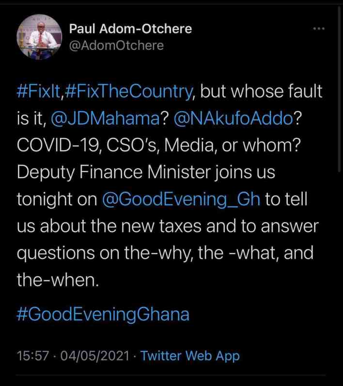 Paul Adom Otchere's tweet