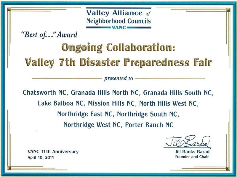 Granada Hills South Neighborhood Council Recognized for Participation in the Valley Disaster Preparedness Fair