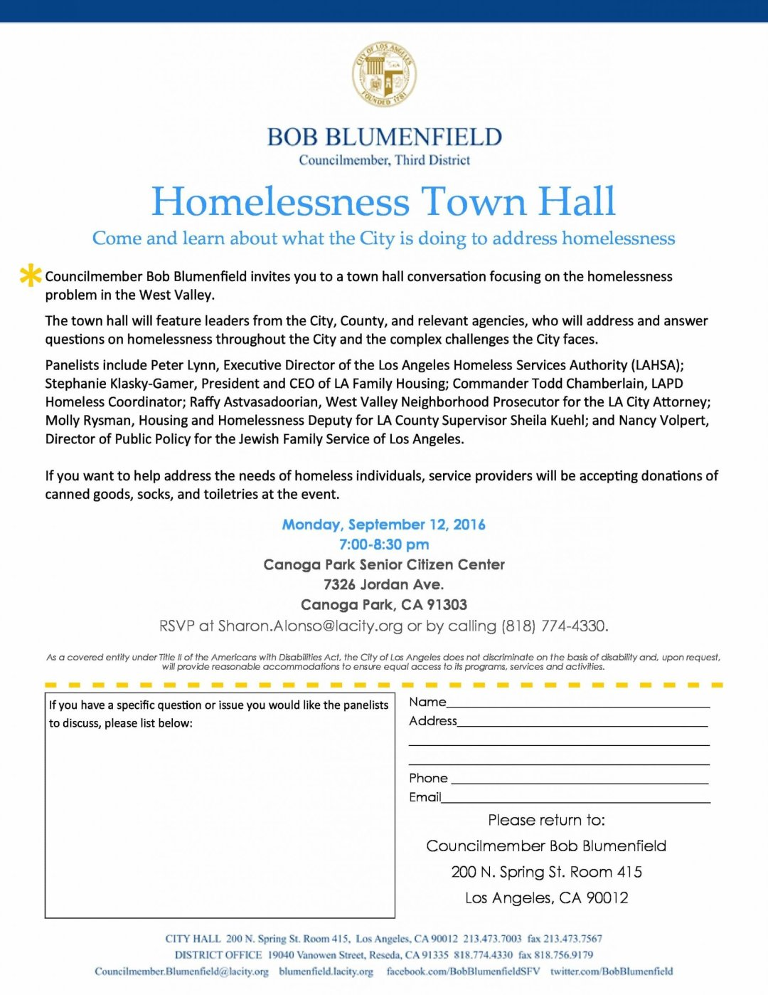 Homelessness Town Hall