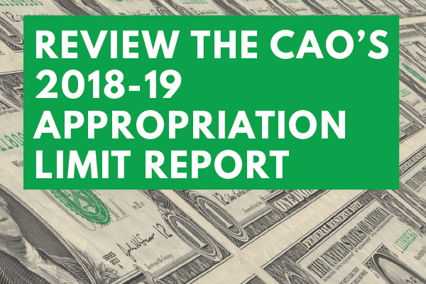 Review and Comment on the CAO's 2018-19 Appropriation Limit Report for the City Budget