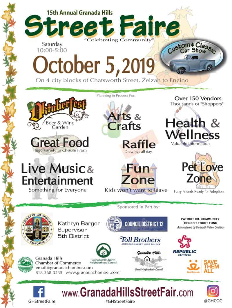 Granada Hills Street Faire – Coming Saturday, October 5, 2019!