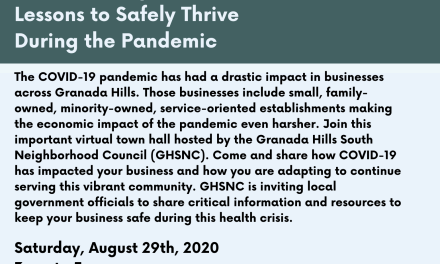 Granada Hills South Neighborhood Council Virtual Town Hall for Businesses: COVID-19 Impacts and Lessons to Safely Thrive During the Pandemic