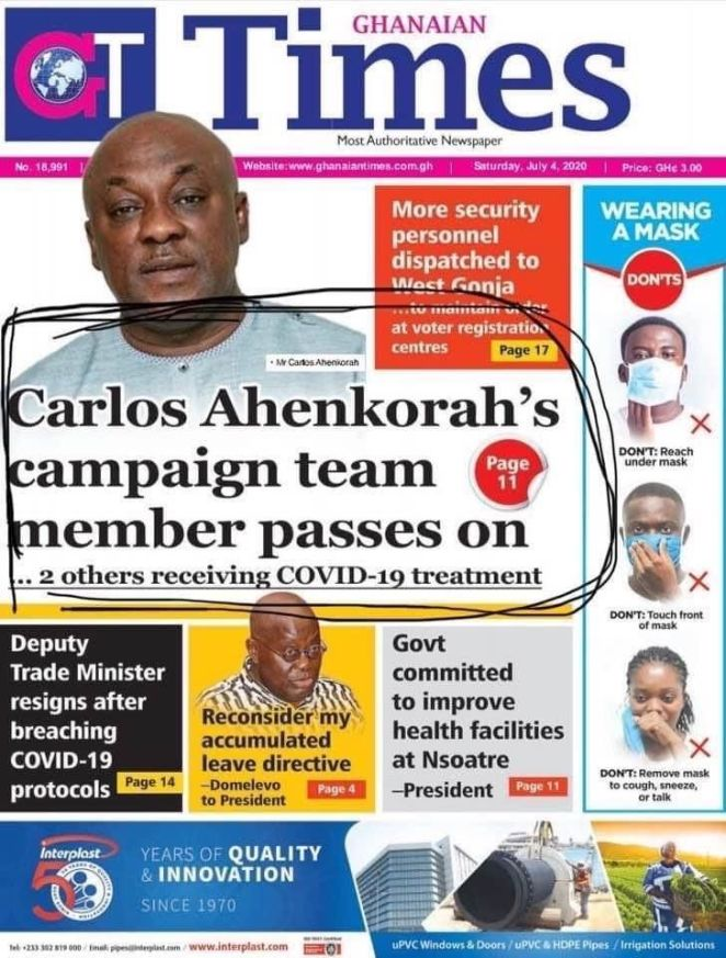 Carlos Ahenkorah campaign team member passes on, 2 others receiving COVID-19 treatment 2