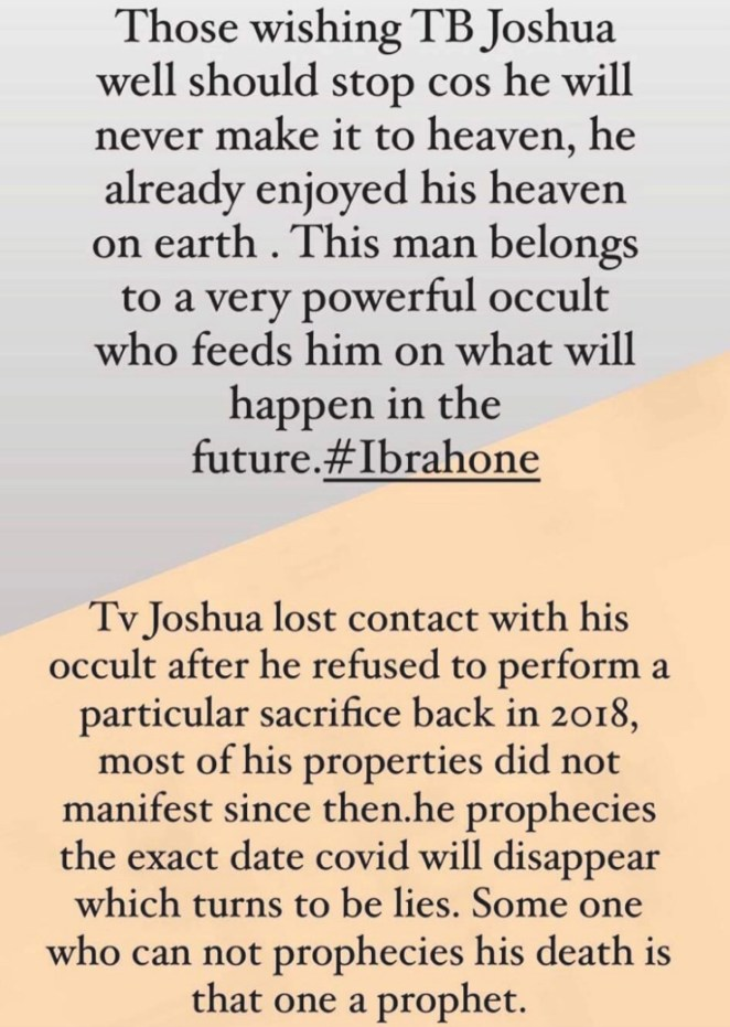 T.B Joshua Death Update: He Was A Member of An Occult Group – Ibrah One Reveals 1