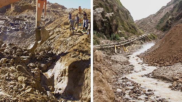 Những người thợ mỏ sử dụng máy đào để loại bỏ những viên sỏi có chứa đá quý.Sỏi được vận chuyển xuống hạ lưu đến nhà máy rửa bằng cách sử dụng nước được cung cấp bởi các đường ống. Ảnh của Hpone-Phyo Kan-Nyunt.