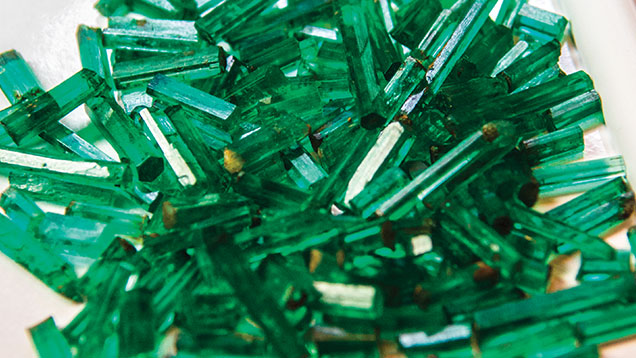 """Pencil"" emeralds – named for their shape – mined in the Panjshir Valley. Photo © Andy Lucas"