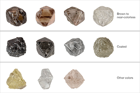 Kim cương thô Diavik từ không màu đến màu nâu, vàng và hồng. Jian Xin (Jae) Liao. GIA