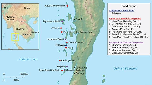 Vùng biển nuôi cấy ngọc trai South Sea Pearl tại quần đảo Myeik (Mergui).