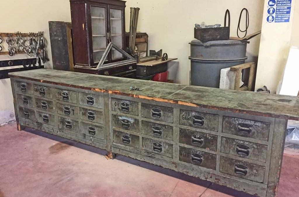 Bancone in legno da officina anni  '40