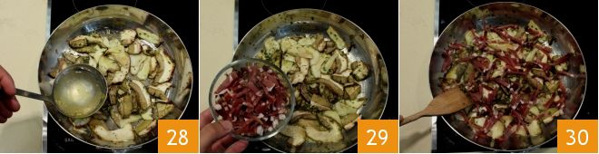 Tagliatelle di frittatine verdi con funghi e pancetta