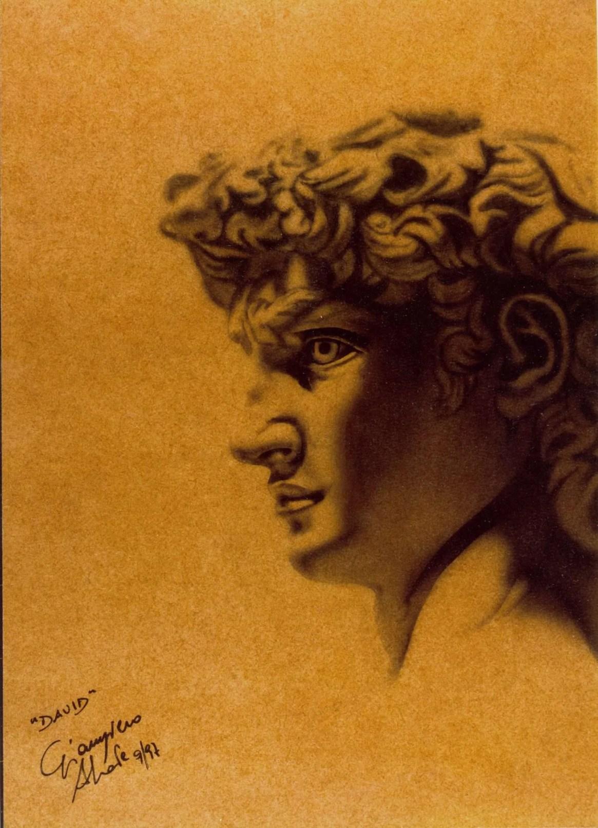 David - Acrilico su Masonite - 21x28 cm - 1997 - Giampiero Abate