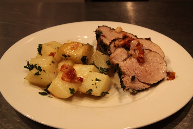 Herb Crusted Pork Tenderloin with Roasted Potatoes and Bacon Sherry vinaigrette