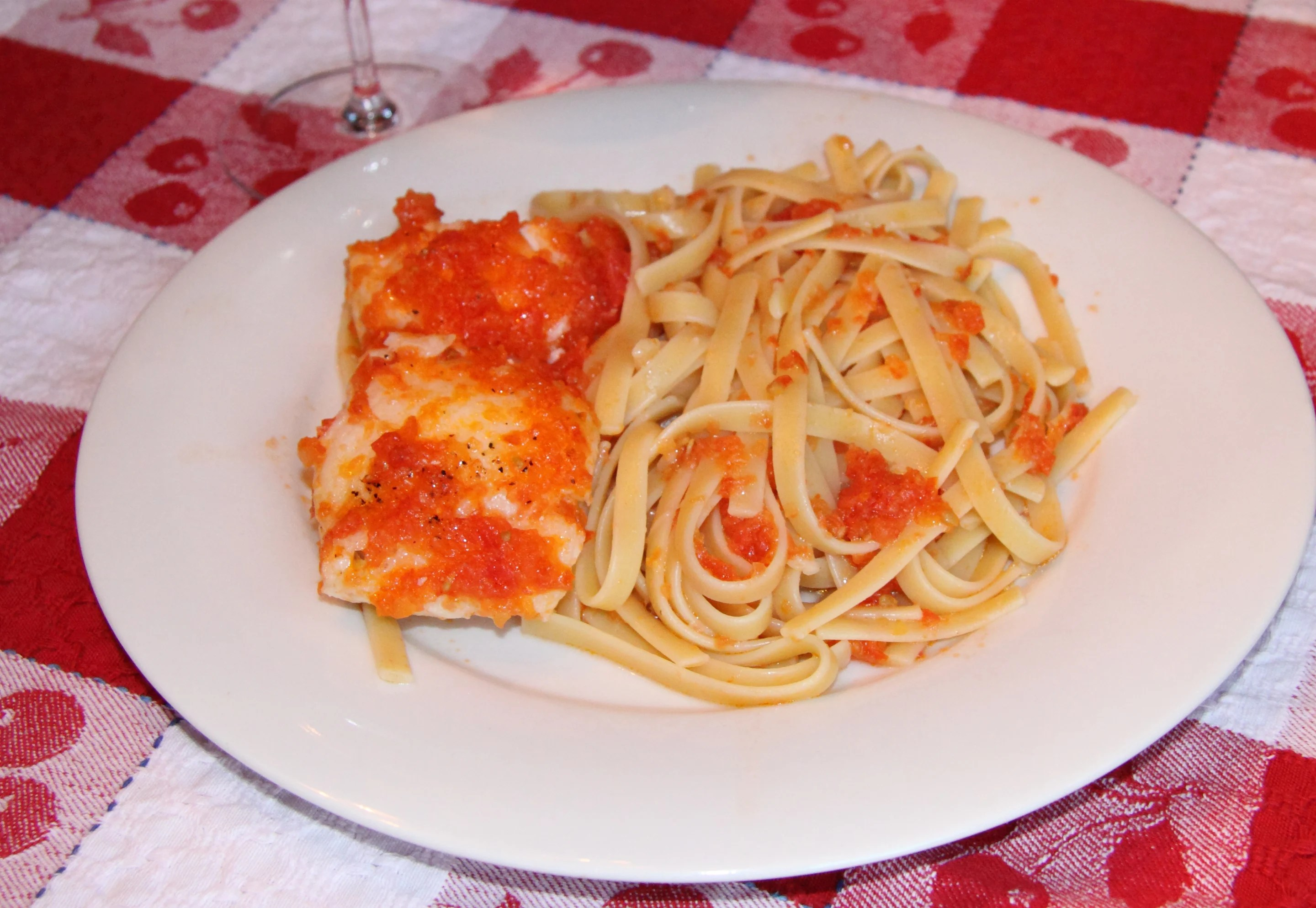 Chilean Sea Bass with Fettuccine