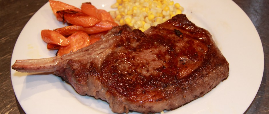 Bone in Rib Eye Steaks with Oven Roasted Carrots