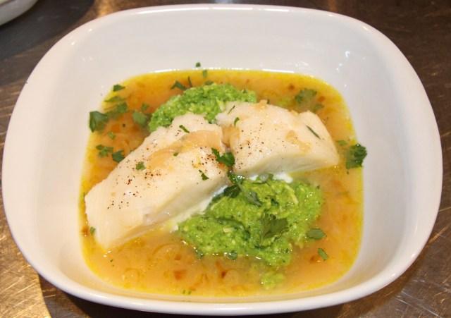 Roasted Sea Bass with Lemon Soup and Pea Puree