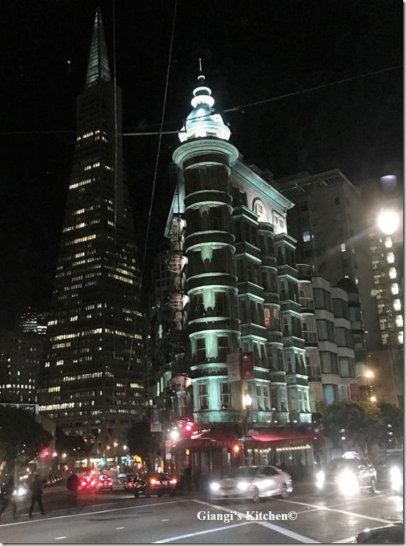 green building at night