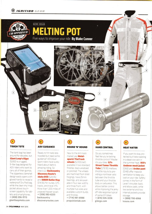 Kiger Tank Bag in Cycle World Magazine's May 2015 issue!