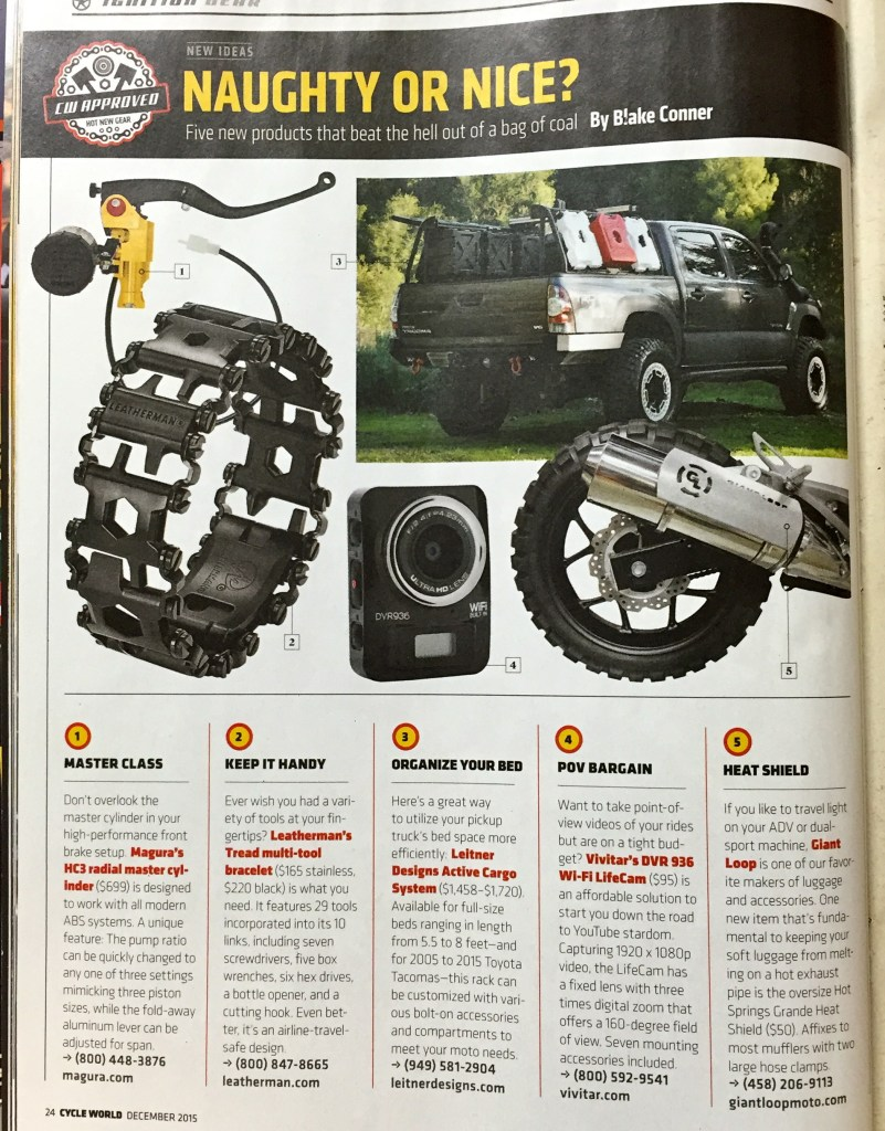 Cycle World magazine December 2015 features Giant Loop Hot Springs Grande Heat Shield exhaust shield