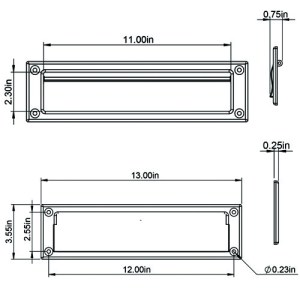 MS00 Mail Slot Product Dimensions