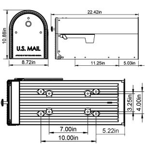 EM160VB0 mailbox dimensions