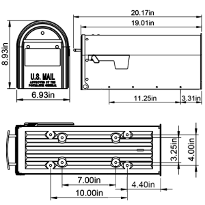 FM1100B01 mailbox dimensions