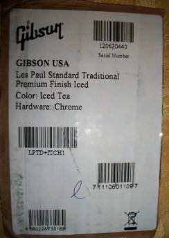 2012 Gibson LP Standard Traditional box sticker