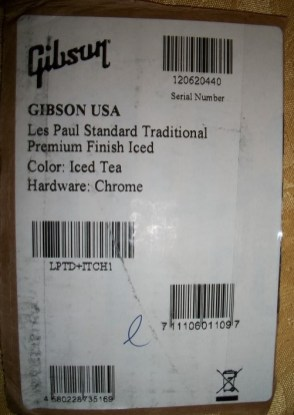 2012 Gibson LP Standard Traditional box sticker