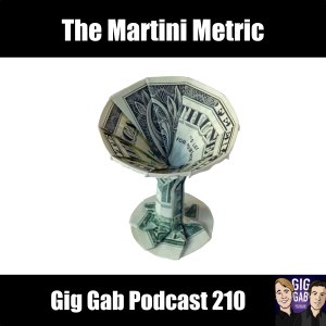 Martini glass made of money with text: The Martini Metric - Gig Gab Podcast 210