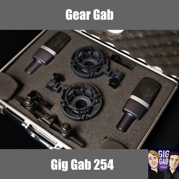 Gear Gab with picture of microphones in a case