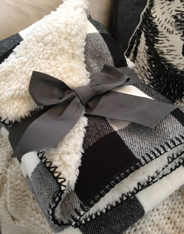 b&w plaid throw