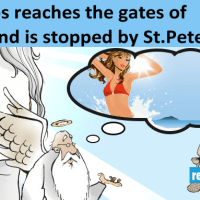 Saint peter stopped Steve Jobs at the pearly gates of heaven.